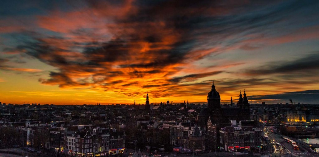 SkyLounge Amsterdam City View sunset