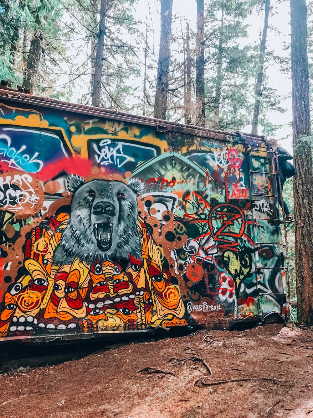 The Whistler Train Wreak Art is an easy hike in Whistler and worth seeing. This Whistler first timers guide covers all the things to see, do, and places to stay. #whistler #bc #canada