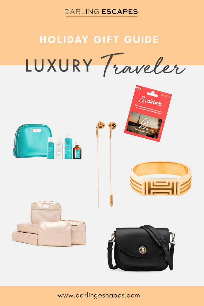 From headphones to rose gold packing cubes, here are the best gifts to give your friend who loves to travel this holiday season! #giftguide #travel