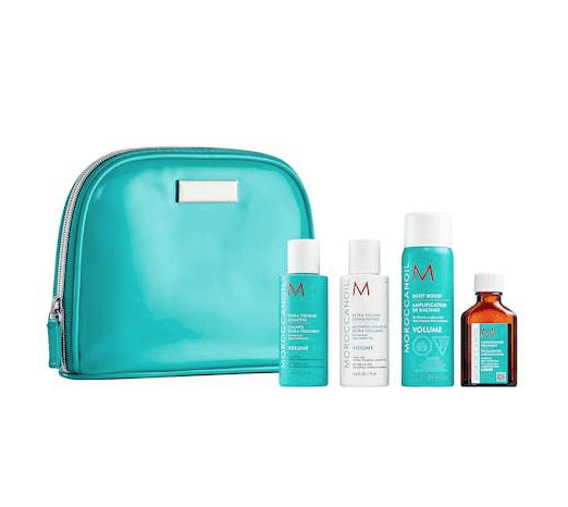 Gift guide for luxury travel lovers including Rosetta Stone and Airbnb gift cards and Gatta Bag and Moroccanoil travel kit