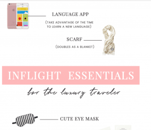 The ultimate list of carry on inflight essentials for luxury travelers!- Everything you need to make your long haul flight that much better and more comfortable.