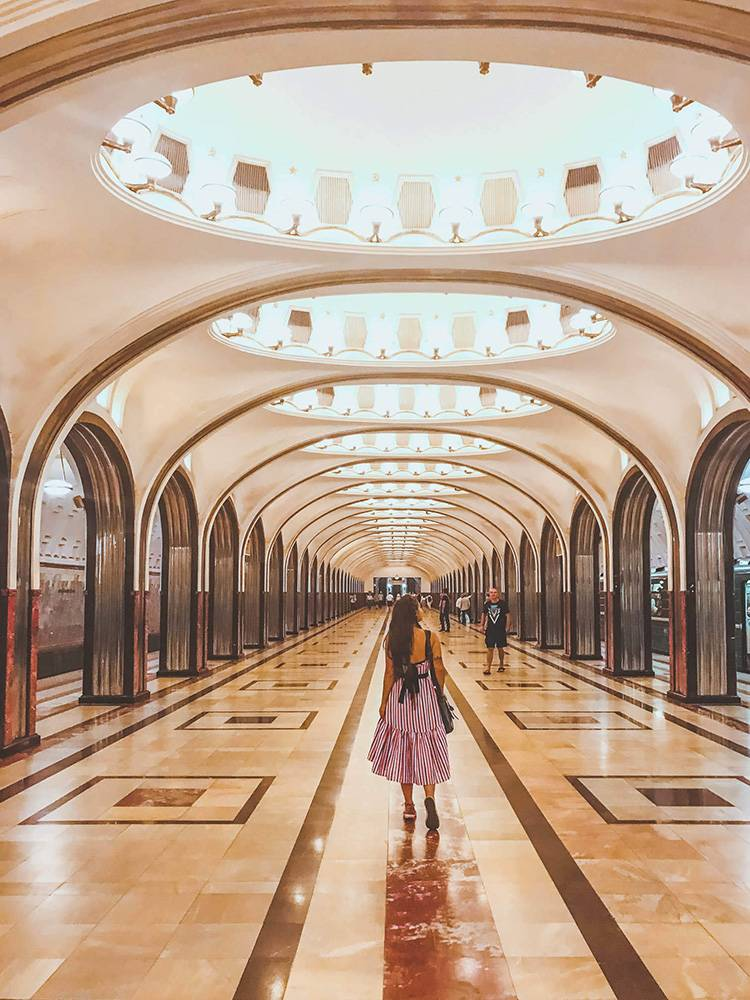 Moscow travel tip: get to the metro station on a Sunday around noon to avoid the crowds and get great shots