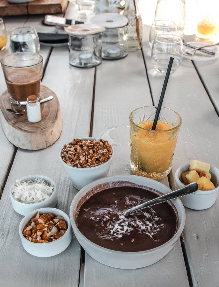 A healthy breakfast at BijBlauw, one of our favorite foodie spots in Willemstad, Curacao